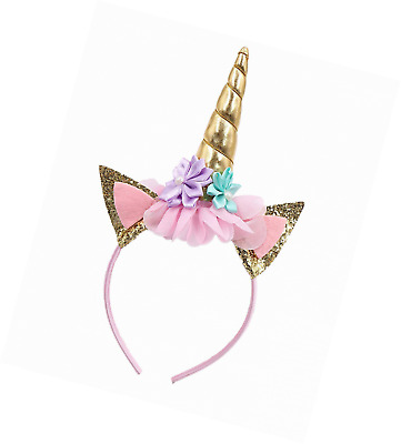 SIFAN Glitter Unicorn Horn Head Band, Flowers Ears Bands for Party Decoration or