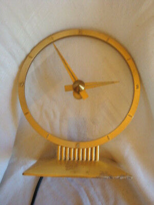 Jefferson Golden Hour Mystery Clock Vintage Circa 1955 as-is Retro Lucite