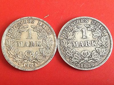 Lot of 2 Germany Empire 1 Mark Silver Coins