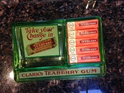 Vintage Clarks Teaberry Gum Vaseline Glass Country Store Counter Change Tray