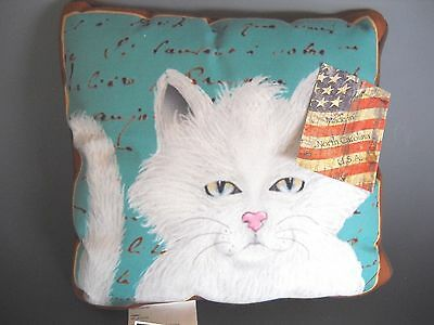 "Purrfect Poses White Cat Pillow Made in USA 12"" Square NWT"