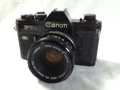 BLACK Canon FTb film camera with FD 1:1.8 PRIME lens Tested and working fine