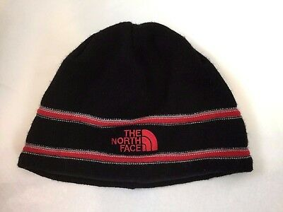 THE NORTH FACE YOUTH TNF LOGO STRIPED BEANIE Black Red Merino wool blend EUC OS