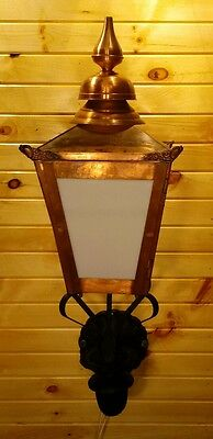 Vintage Copper Sconce Light Commercial  Building Lamp Porch With Arm Mount