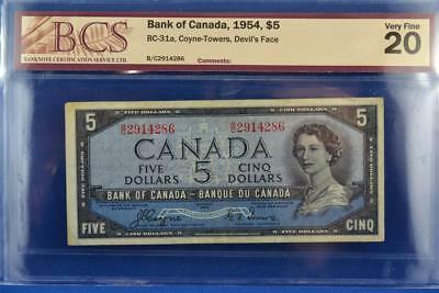 1954 CANADIAN BANK OF CANADA $5 DEVIL'S FACE BILL. BC-31a B/C 2914286. VF 20