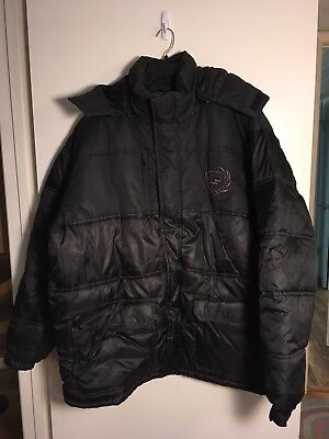 Mens PHAT FARM Puffy CLASSIC Hooded Coat Jacket Size 2XL Black Polyester
