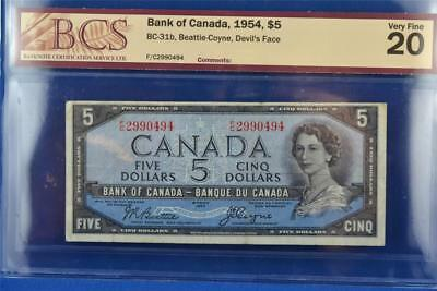 1954 CANADIAN BANK OF CANADA $5 DEVIL'S FACE BILL. BC-31b F/C 2990494. VF 20