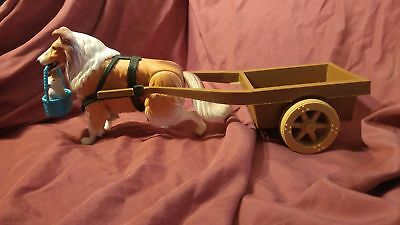 Vintage Collie Plastic Adjustable Lassie with Wagon & Basket Toy 100% to Charity