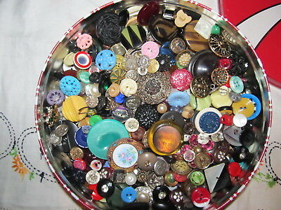 Look 2 Lbs Vintage Antique Buttons Lot Celluloid Glass Metal Bakelite Enamel