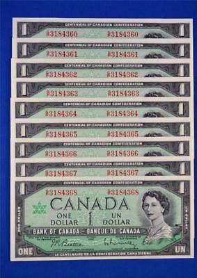 Lot Of 9 Sequenced 1967 Bank Of Canada $1 Bills. G/p 3184360 - 68. Ungraded
