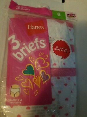 Hanes girls tagless heart briefs 3 pack-Size 6 New