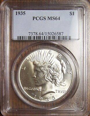 1935 Peace dollar, PCGS MS64