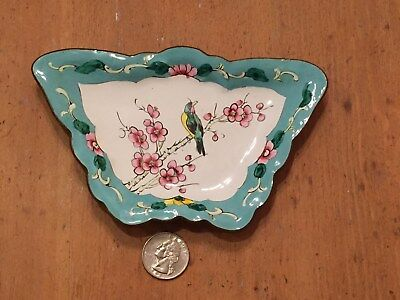 Trinket Dish, enameled copper, butterfly shape with bird and flowers