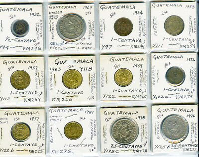 High Grade World lot of 12 Coins from Guatemala