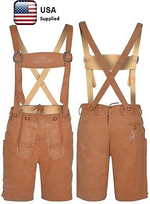 Bavarian Oktoberfest Lederhosen German Leather Gold Brown with Suspender Short