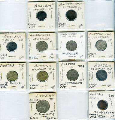 High Grade World lot of 12 Coins from Austria, several early pieces!