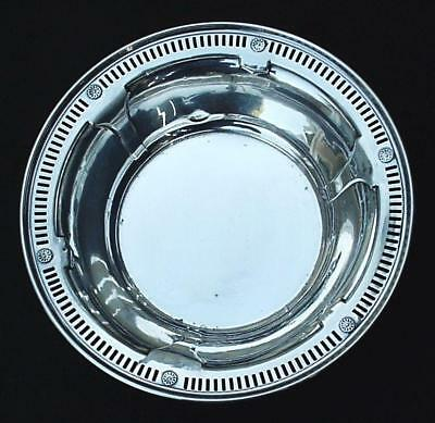 "International Sterling Silver 925 Pierced Rim Flower Rosettes 6"" Candy Nut Bowl"