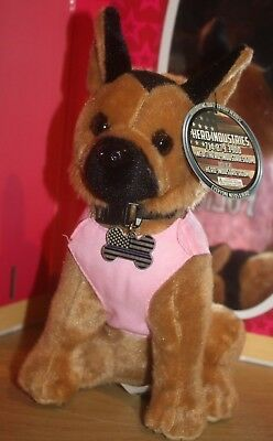 NEW! Black/Tan German Shepherd PLUSH Police Dog Pink Vest Collar with Tag Hero