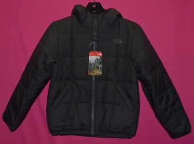 North Face Boy's Reversible Perrito Jacket Heatseeker Black Graphite M 10/12 New