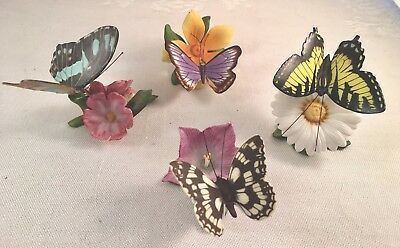 Vintage Lot Of 4 Ceramic Hand Painted Butterfly Figurines, All Stamped,2 W Label