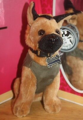 NEW! Black/Tan German Shepherd PLUSH Sheriff Dog Green Vest Collar w/Tag Hero