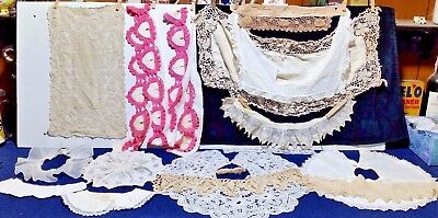 Antique/Vtg Victorian Lace,Eyelet Collars,Embroidery,Baby Bib,Fichus,Lot of 15