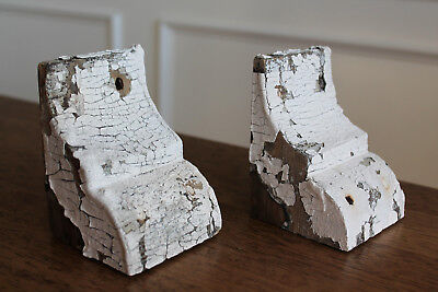 Antique Architectural Salvage Wooden Corbels Small Pair Chippy White Set of 2