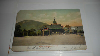 Railroad Station  Erie Suffern Ny Train Railroad Postcard Early 1903