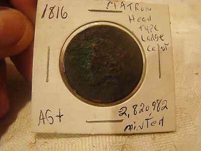 Antique Large Copper Cent 1816 Date AG in Paper clear holder