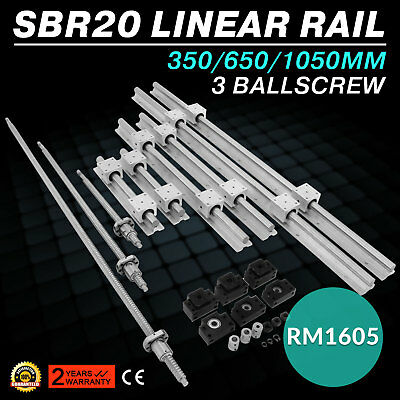 【US】SBR20 Linear Rail Guide Set+3 Ballscrew RM1605-350/650/1050+BK/BF 12+Coupler