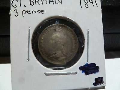 1891 Great Britain  3Pence UNC Toning