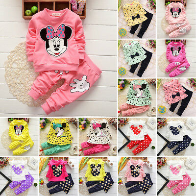Infant Baby Kids Girls Minnie Disney Tops Sweater Coats + Pants 2pcs Outfits Set