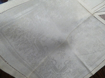 Antique Linen Double Damask Napkin Lot  Set of 6 Floral Flowers 12.5in