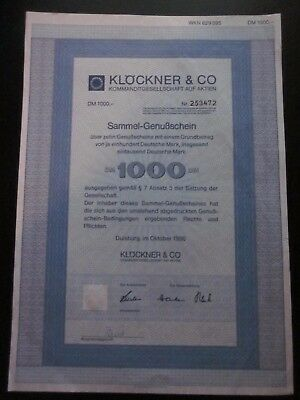 Germany Klöckner & Co 1000 DM German Marks 1986 Share Certificate
