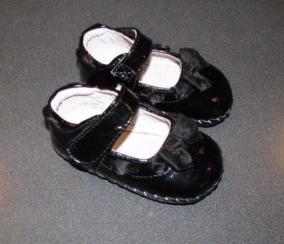 PEDIPED Size 6-12 Months Black Patent Mary-Jane Shoes~Leather Lining and Soles