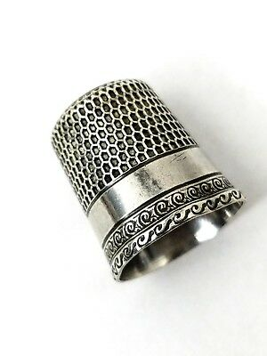 Vintage Antique Waite Thresher Co Sterling Silver Thimble empty Star Size 12