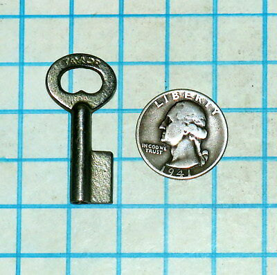 Real Vtg Antique Old Hollow Barrel Uncut Lever Cabinet Lock Padlock Key Blank