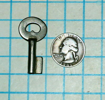 Real Vtg Old Antique Hollow Barrel Uncut Lever Cabinet Lock Padlock Key Blank