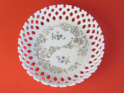 Vintage Antique Milk Glass White Large Centerpiece Bowl Reticulated OLD