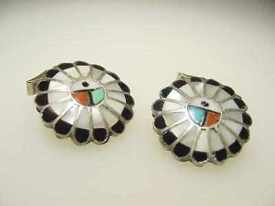 Vintage Hand Made Sterling Silver Zuni Sunface Inlaid MOP Coral Onyx Cuff Links