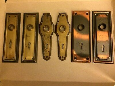 6 Antique Backplates:4 Brass and Brass Plated,2 Copper and Black.