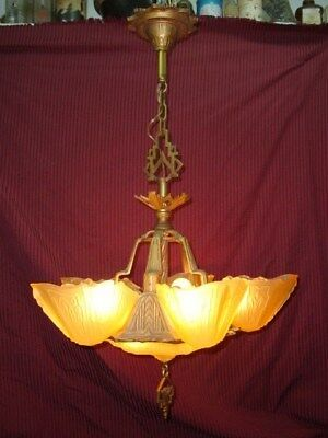 Art Deco High Style Six Light Slip Shade Antique Light Fixture in Excellent Cond
