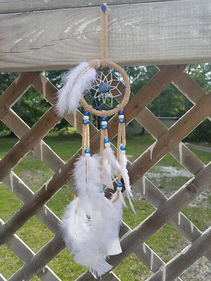 """NEW 4"""" White and Blue Handmade Dream Catcher With Feathers Wall Hanging Ornament"""