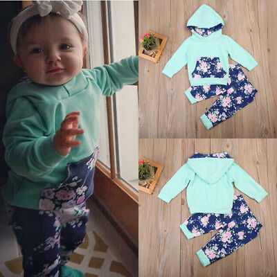 Toddler Baby Boys Girls Tops Hoodie Pants Home Outfits 2Pcs Set Clothes 0-18 M