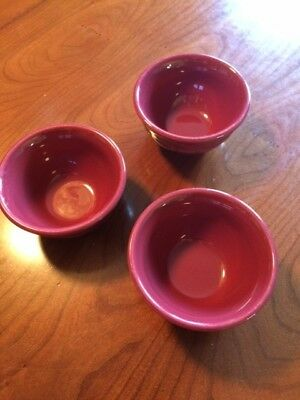 Longaberger Pottery Woven Traditions Paprika Red Dessert Bowls set of 3 EUC