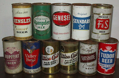11 NY, PA, NJ, MA flat top beer can, Rochester, Utica, Reading, Norristown more