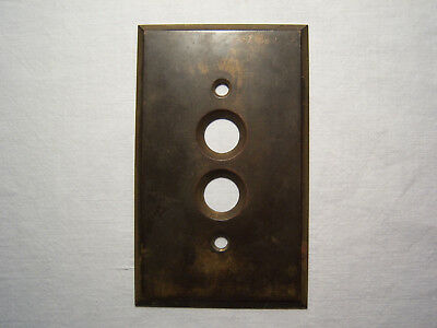 Vintage Antique Perkins Push Button Electric Brass Light Switch Cover Plate