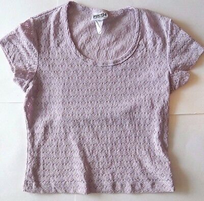 Vintage 90's Stretch Lace Crop Top Midriff Sz M Lavender Fresh From California
