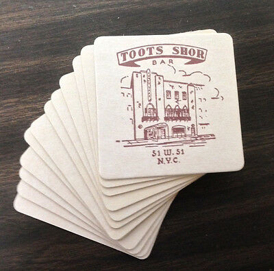 12 Unused Bar/Beverage Cocktail Coasters from TOOTS SHOR New York City Saloon