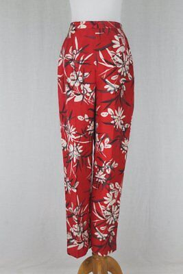 Vintage Adrianna Papell Red w/ Gray & White Asian Floral Print Silk Pants NEW 4
